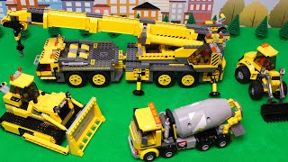 Lego Bulldozer, Concrete Mixer, Dump Truck, Mobile Crane, Tractor, Excavator Toy Vehicles for Kids
