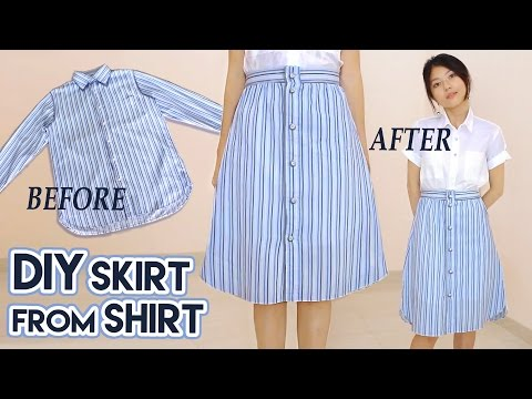 diy-turn-old-shirt-into-skirt-|-button-front-a-line-midi-skirt-|-clothes-transformation-upcycle