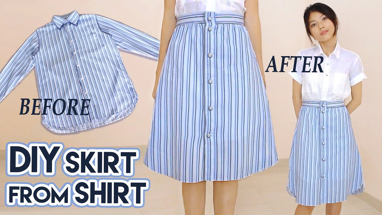 DIY Turn Old Shirt Into Skirt | Button Front A Line Midi ...