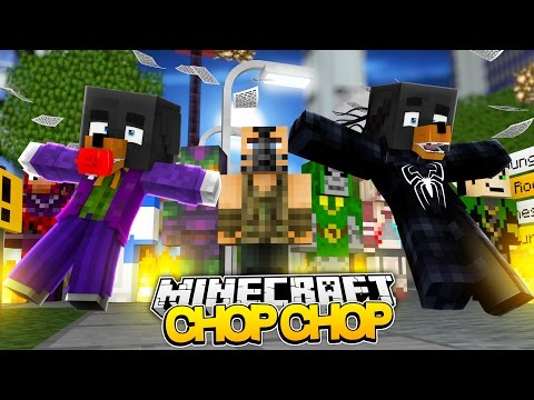 Minecraft CHOP CHOP - EVIL SUPERHEROES MASACRE w/BABY MAX - Donut the Dog