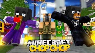 Minecraft CHOP CHOP - EVIL SUPERHEROES MASACRE w/BABY MAX - Donut the Dog