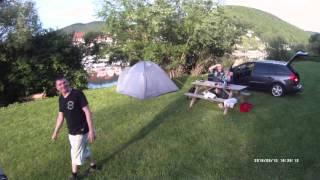 Michael mit Freunden am Campingpark Eberbach Odenwald Neckar