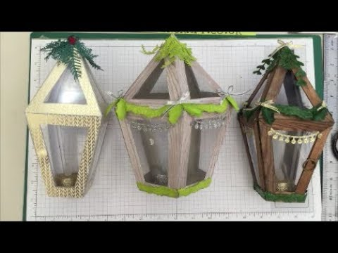 Gorgeous Christmas Table Lantern Tutorial Stampin Up Wooden Look Various Sizes Tea Light Decoration