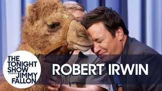 Robert Irwin\'s Baby Camel Kisses Jimmy on the Lips