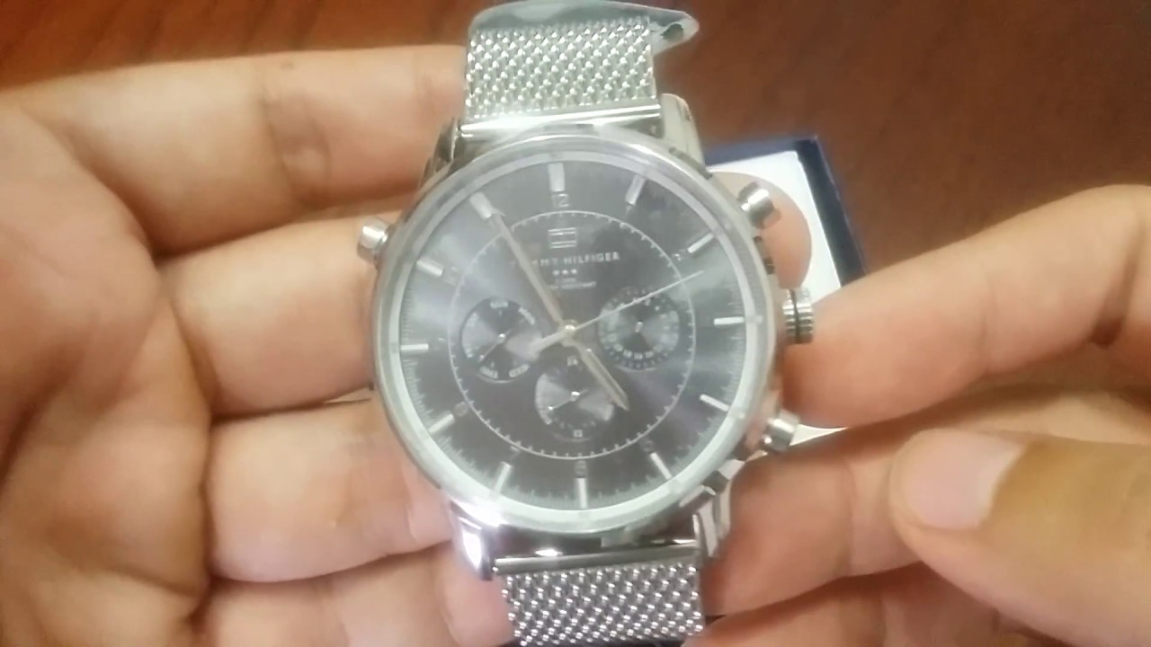 6b9e5039213 Tommy Hilfiger Men s 1790877 Silver-Tone Stainless Steel Watch - YouTube