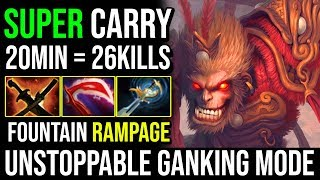 WTF Fountain RAMPAGE | Monkey King Epic Unstoppable Ganking 26Kills in 20Minutes By Fn 7.20e Dota 2
