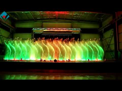 musical fountain show with fire effect in T.Y. Fountain factory showroom