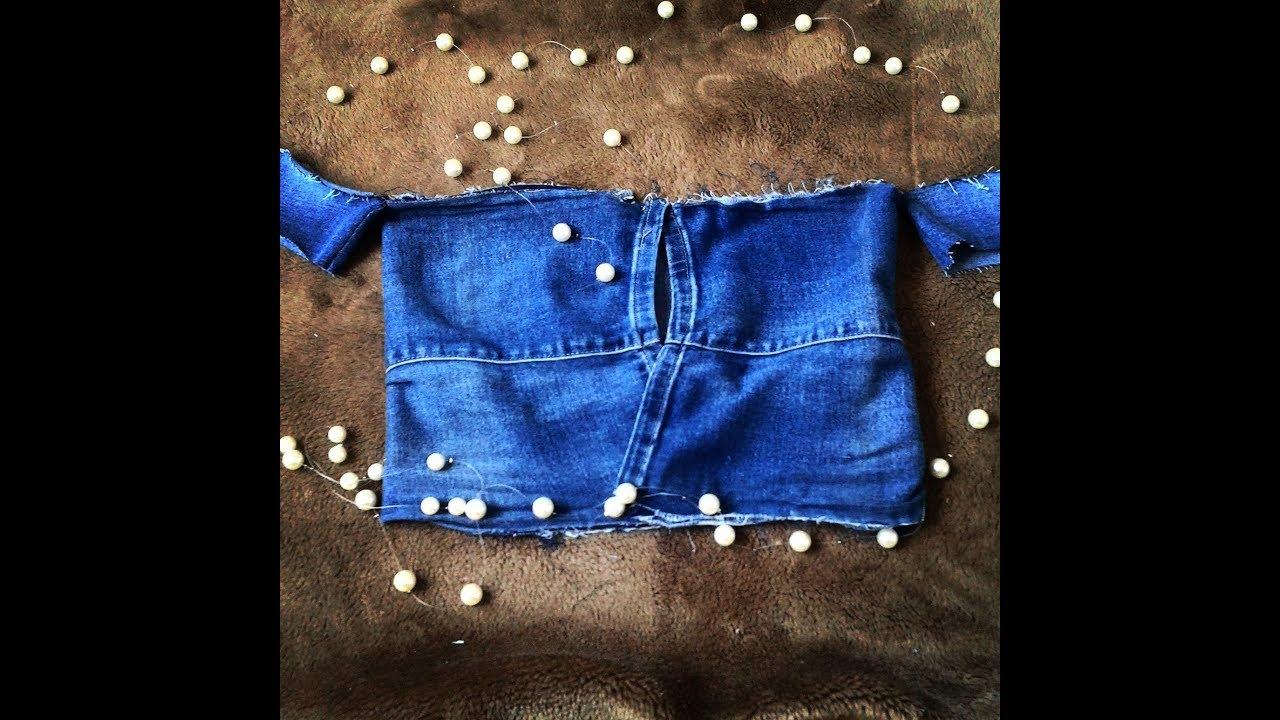 85dfd6e09f865b Como fazer cropped com calça jeans - YouTube