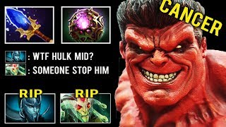 HULK MID IS BACK Crazy Max Slow Burn Spam Annoying Style Pro Trolling Pub by Cyclone 7.23 Dota 2