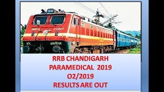 RRB CHANDIGARH PARAMEDICAL STAFF NURSE 2019 RESULT 02/19