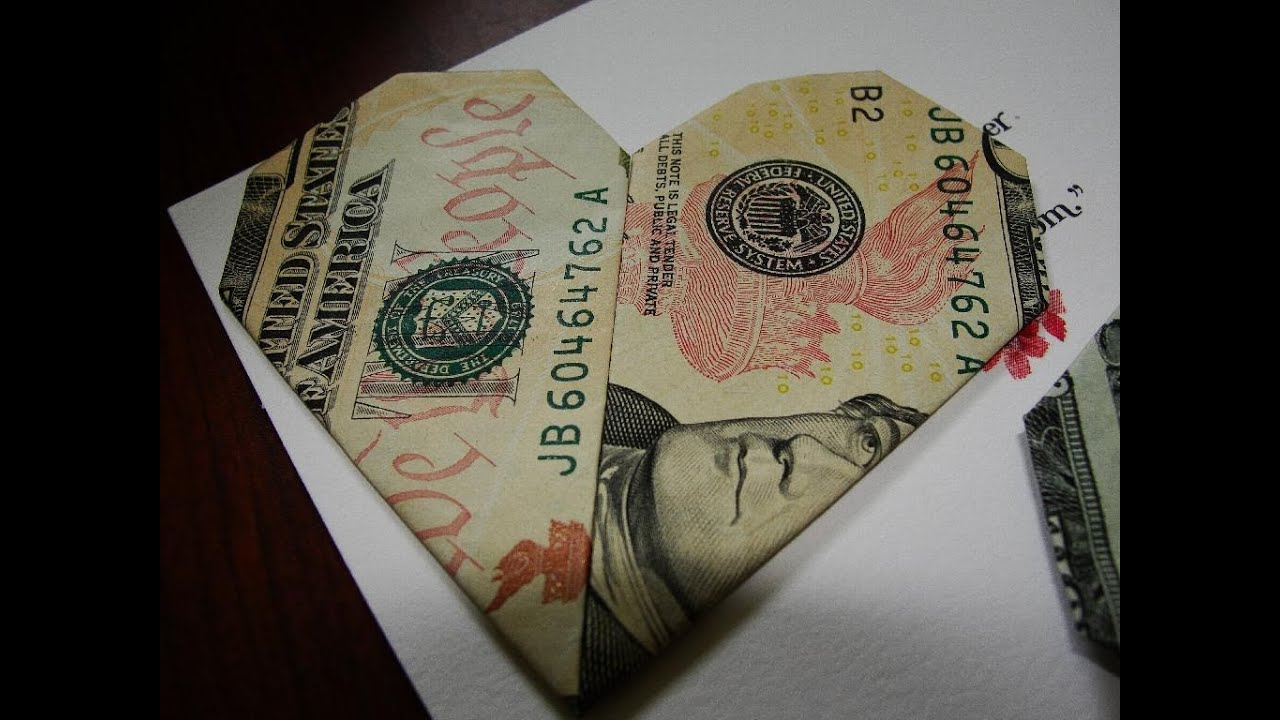 Origami Heart With A Dollar Bill