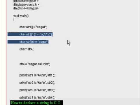 How to declare a string in C - YouTube