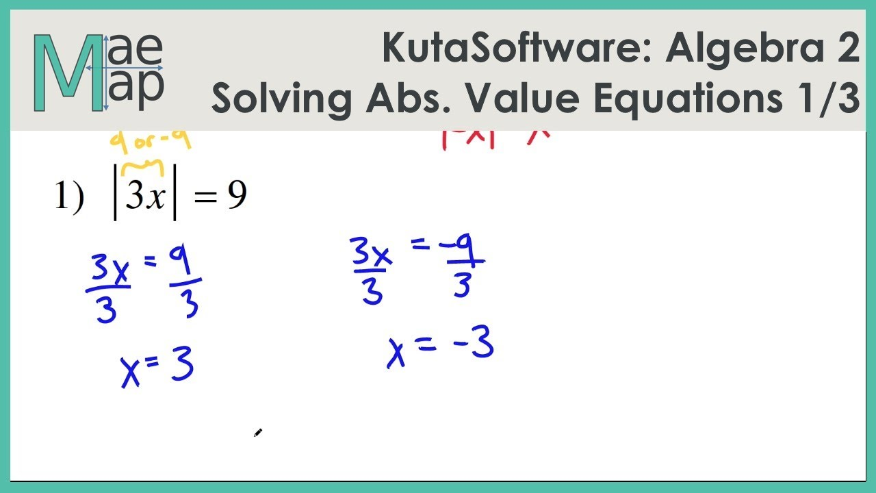 Kutasoftware Algebra 2 Solving Absolute Value Equations Part 1