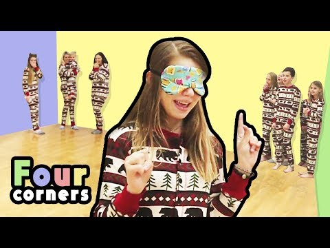 Four Corners in Jammies with That YouTub3 Family! | Four Corners Blindfolded!