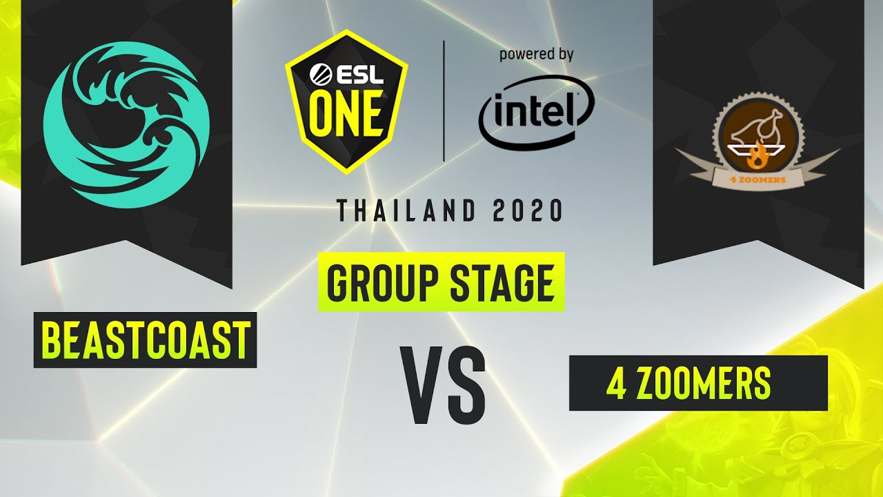 Dota2 - 4 Zoomers vs. beastcoast  - Game 1 - ESL One Thailand 2020 - Group Stage - AM