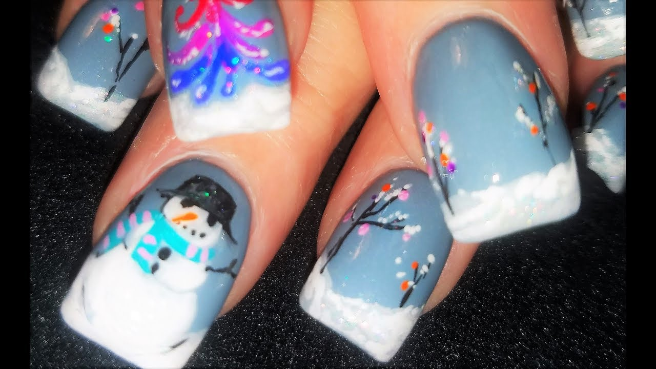 Christmas nails winter snow scene in gray nail art design youtube christmas nails winter snow scene in gray nail art design prinsesfo Gallery