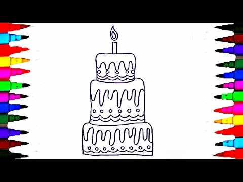 Learn to Draw and Coloring Layered Cake Coloring Pages - Videos for Children - Learning Colors