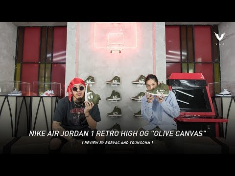 "740db3a2dda7c3 Nike Air Jordan 1 Retro High OG ""Olive Canvas""  Review by bobvac and  Youngohm (Thai)"