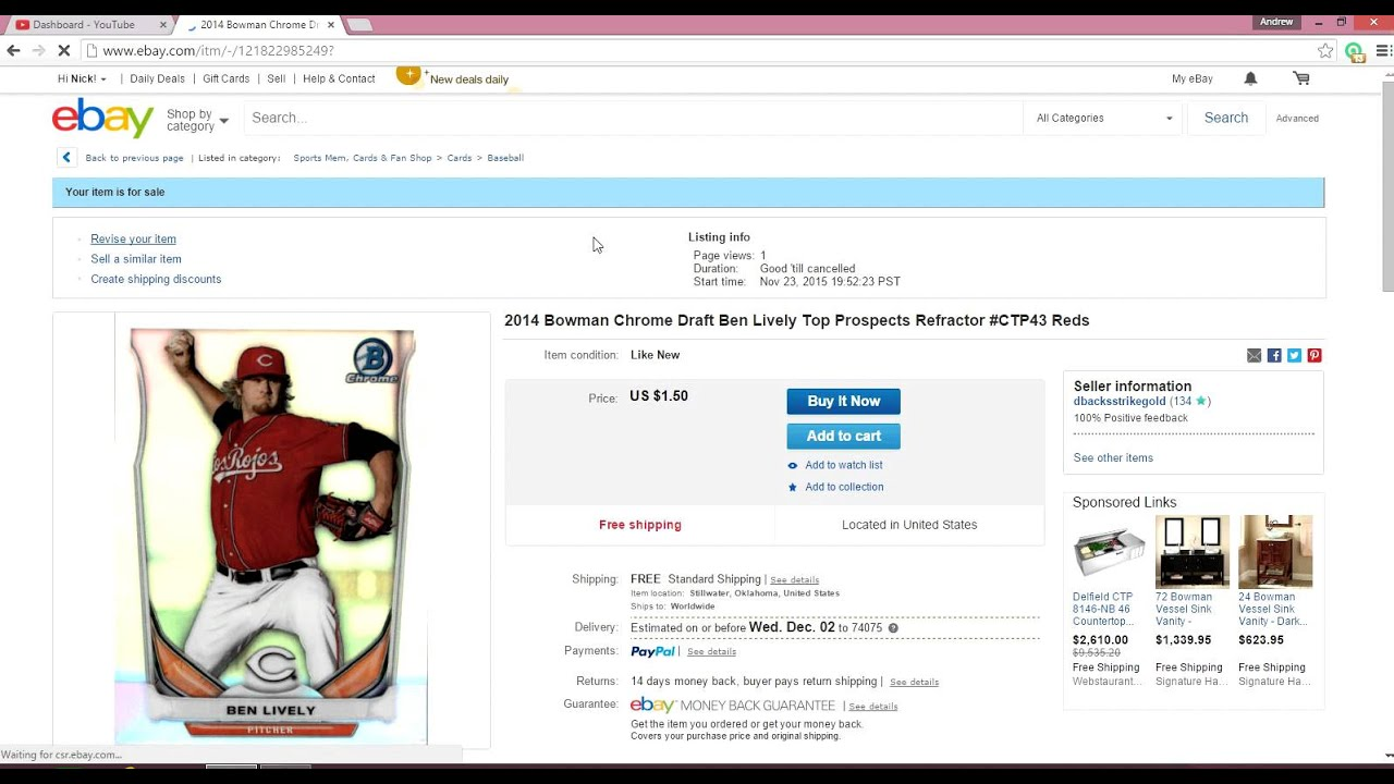 How To List An Item On Ebay Mainly Sports Cards Youtube