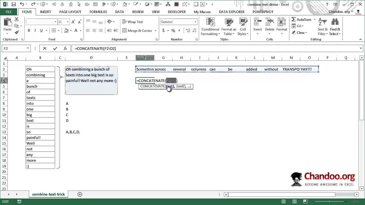 How to combine text values using CONCATENATE & TRANSPOSE functions   Excel  Trick