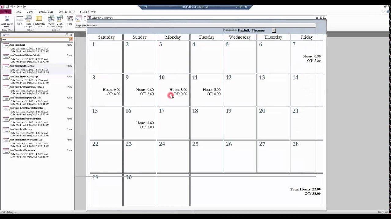 Microsoft Access Custom Calendar Control Walkthrough - YouTube