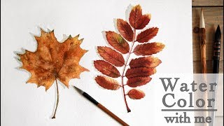 Easy way how to draw Realistic watercolor autumn leaf