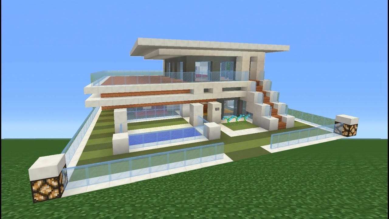 Minecraft tutorial how to make a modern house youtube for Big modern house tutorial