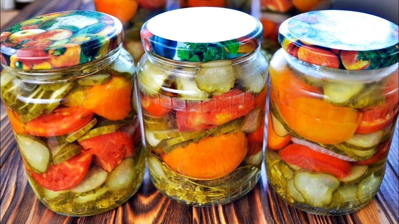 ОБАЛДЕННАЯ заготовка на зиму: салат из огурцов, помидор и ...