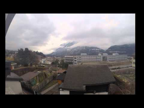 Time lapse - Swiss mountains, half-day - Sierre 19 Feb 2016
