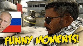 CS:GO FUNNY MOMENTS - PERFECT GRENADE, CRAZY RUSSIAN MAN, BEST NOSCOPE EVER