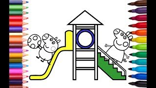 How to Draw Peppa Pig George Playground Slide   Coloring Pages for Children   Learn Colors