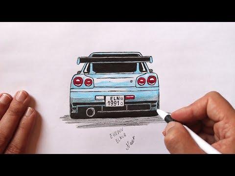 Как нарисовать машину скайлайн