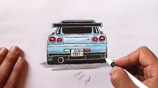 Как нарисовать Супер Крутую машину  Nissan Skyline #EhedovElnur