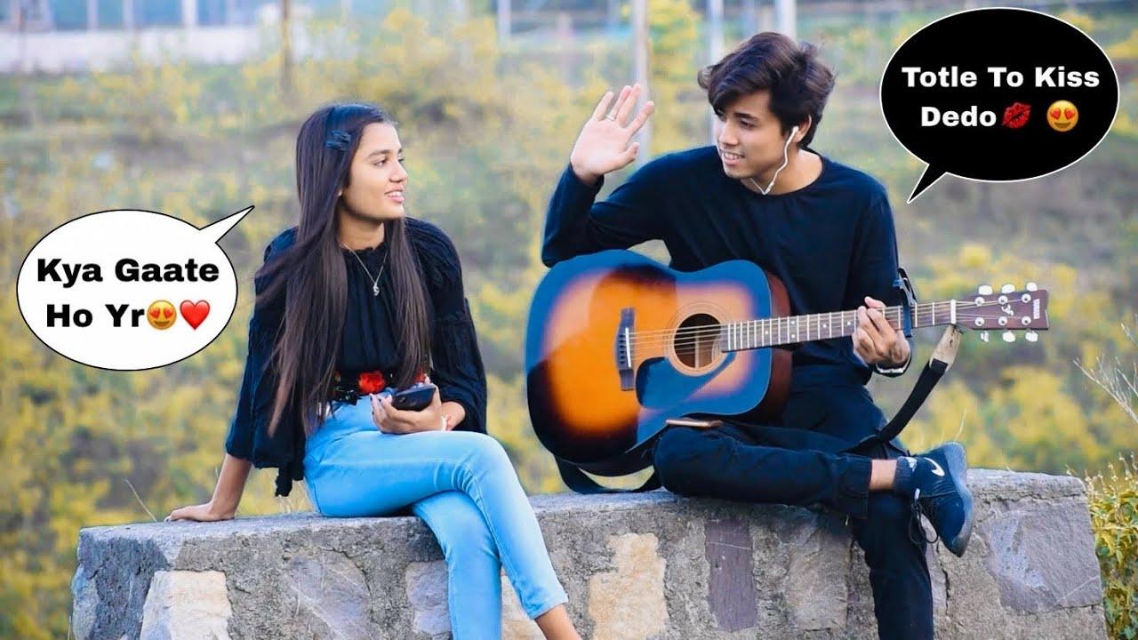 Totla (तोतला) Singing Love Songs With Guitar   Prank On Cute Girl   Amazing Reactions   Jhopdi K