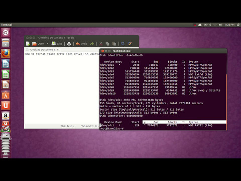 How to format flash drive (pen drive) in Ubuntu any version.
