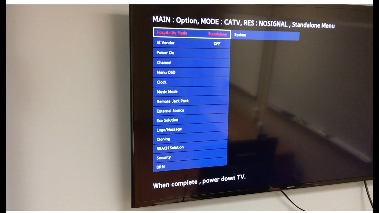 How to unlock hotel Samsung TV menu