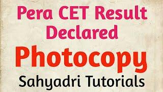 Pera CET Result | Photocopy (Details)