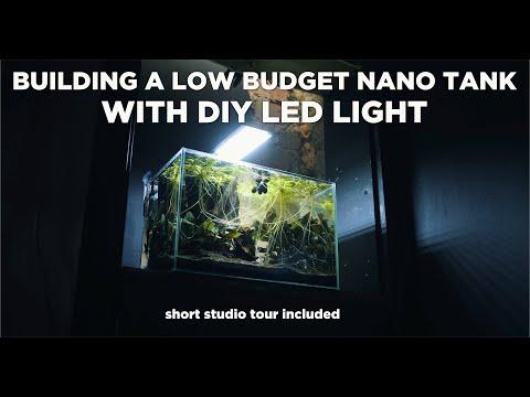 CHEAP Nano Aquarium With Cool DIY LED Light - Aquascaping TUTORIAL