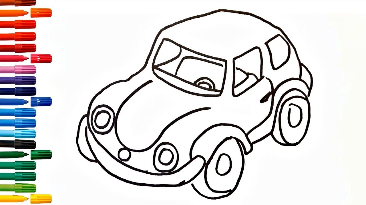 Cars for Kids Drawing Car How to Draw And Paint Car ...