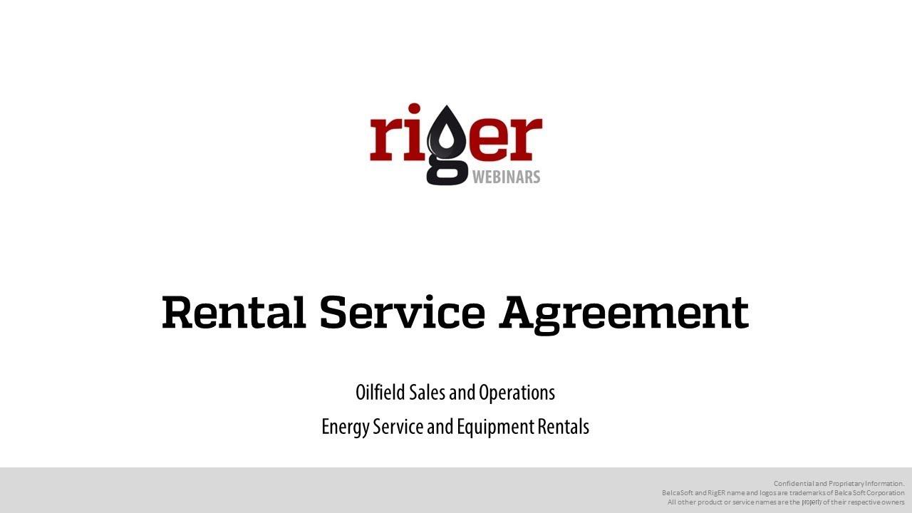 Rental Service Agreement Riger Webinar Oilfield Software For