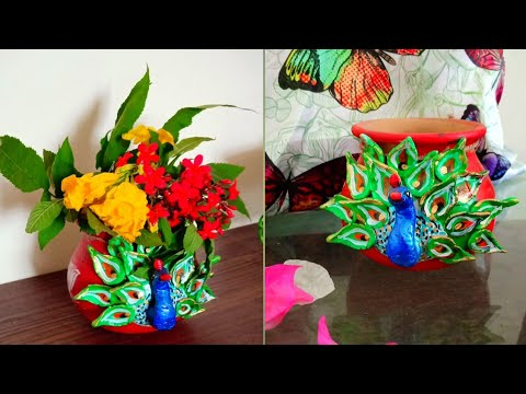 How to decorate a simple terracotta matka to a ethnic peacock matka/ matka makeover/ Peacock craft