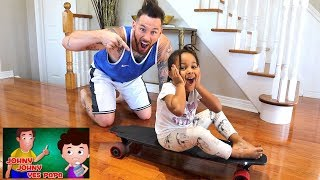 Johny Johny Yes Papa Riding Magic Skateboard | FamousTubeKIDS