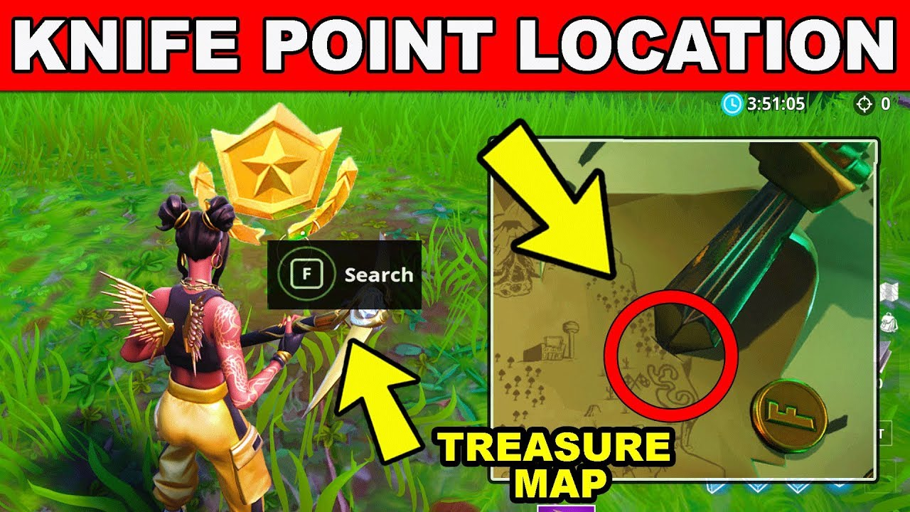 search where the knife points on the treasure map loading screen location fortnite week 6 challenges - knife on treasure map challenge fortnite