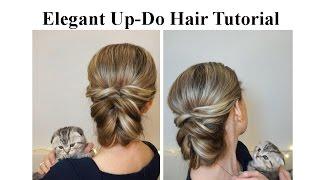 Повседневная прическа с резинками Деловая прическа Elegant Up-Do Hair Tutorial