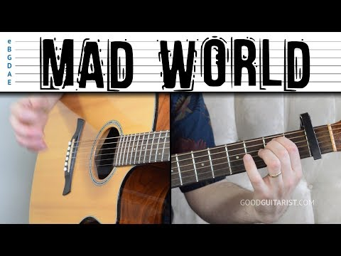 'Mad World' Easy Guitar Tutorial - Chords, Strumming and Melody