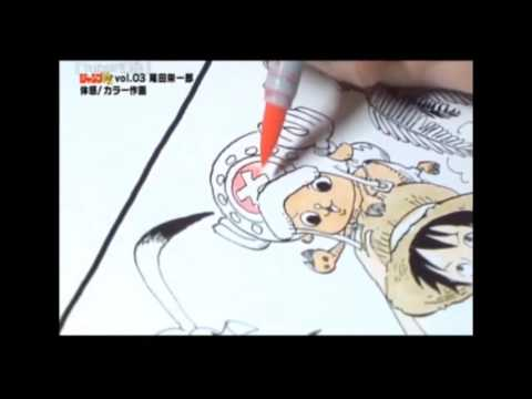 Eiichiro Oda working on a Color Page