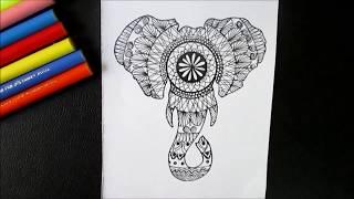 Draw An Elephant Silhouette Zentangle (Time lapse mandala)