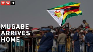 The body of former Zimbabwean President Robert Mugabe arrived in Harare on Wednesday ahead of his burial this weekend.