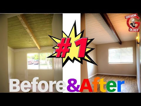 BEFORE & AFTER Home Renovation Pt. 1  - (Staining Wood Beams)