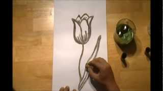 How to draw a tulip flower with a wine corks